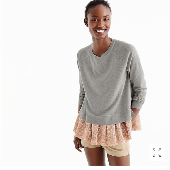 805f53a6b27b J. Crew Sweaters | Jcrew Collection Crewneck With Layered Lame Xs ...